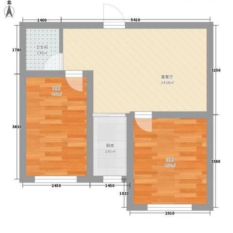 善上居2室1厅1卫1厨53.00㎡户型图