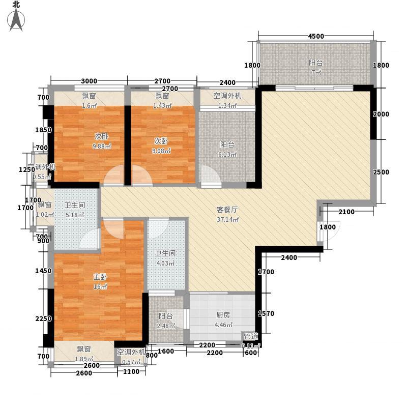 盛天国际11.00㎡3期2#3#01户型3室2厅2卫1厨