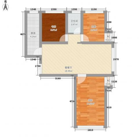 善上居3室1厅1卫1厨47.36㎡户型图