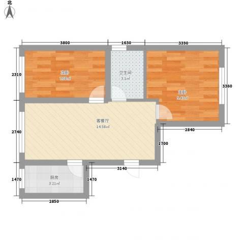 善上居2室1厅1卫1厨55.00㎡户型图