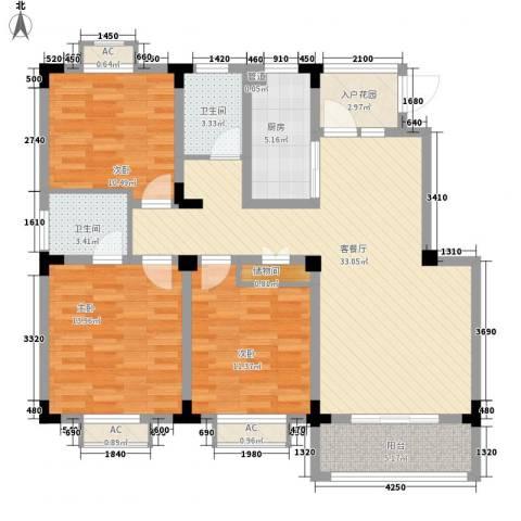 尚泽时代广场3室1厅2卫1厨113.00㎡户型图