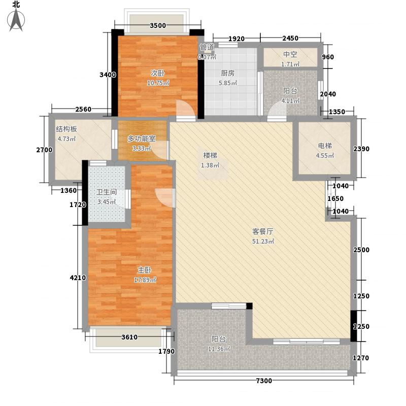 远辰山水一号7#楼三单元一号房(复式下层)户型3室2厅1卫1厨