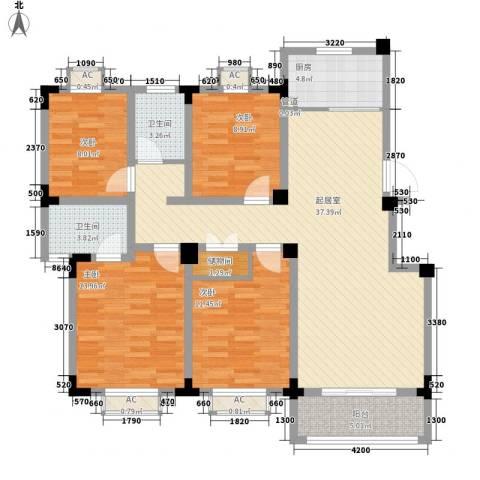 尚泽时代广场4室0厅2卫1厨123.00㎡户型图