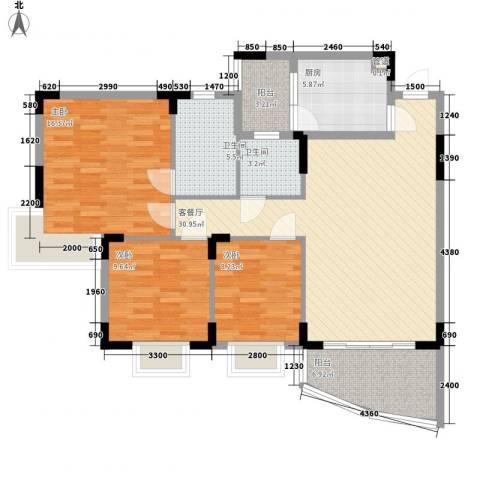 三正世纪豪庭3室1厅2卫1厨128.00㎡户型图