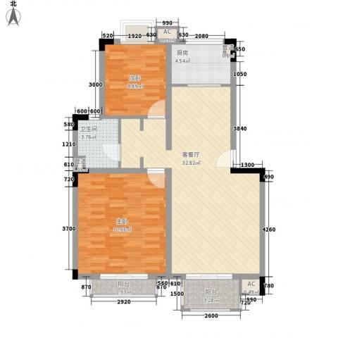 汉口春天2室1厅1卫1厨106.00㎡户型图