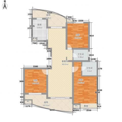 江海皇都3室1厅2卫1厨147.00㎡户型图