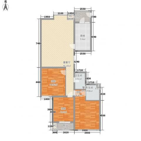 君泰风尚国际3室1厅2卫1厨156.00㎡户型图