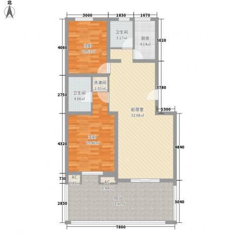 丽苑小区2室0厅2卫1厨132.00㎡户型图