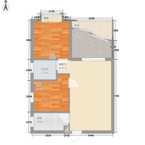 汇商花苑漫城2室1厅1卫1厨62.00㎡户型图