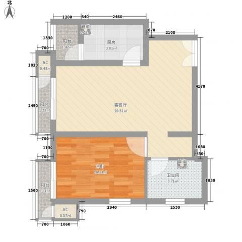 金隅凤麟洲1室1厅1卫1厨119.00㎡户型图
