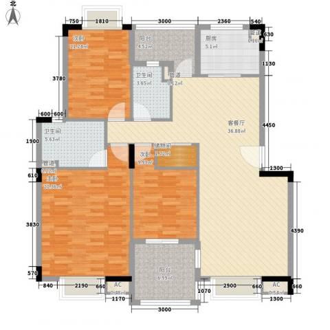 汉口春天3室1厅2卫1厨151.00㎡户型图