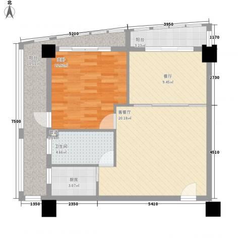 万信摩登会馆1室2厅1卫1厨92.00㎡户型图