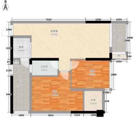 盛天公馆|88街区2室0厅1卫1厨77.00㎡户型图