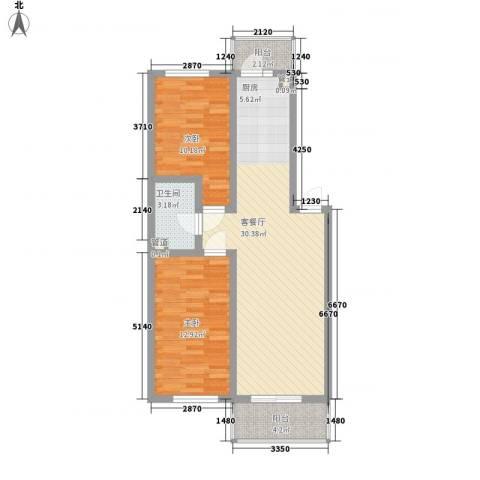 果园星城2室1厅1卫0厨91.00㎡户型图