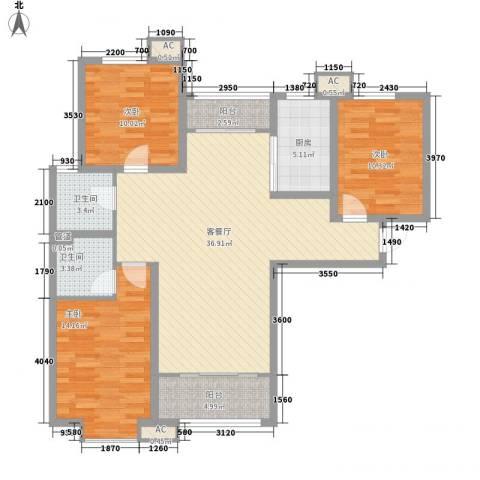 达世地产壹江城3室1厅2卫1厨132.00㎡户型图