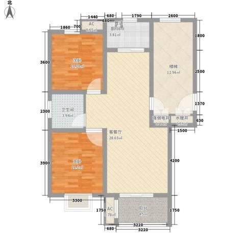 城市印象2室1厅1卫1厨85.00㎡户型图