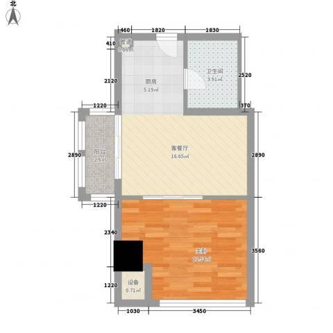 乐客来国际商业中心1室1厅1卫0厨54.00㎡户型图