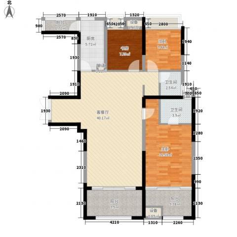 荣禾城市理想3室1厅2卫1厨132.00㎡户型图