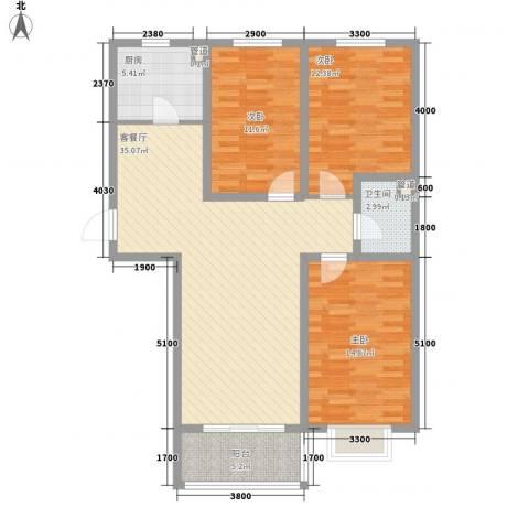 城市印象3室1厅1卫1厨114.00㎡户型图