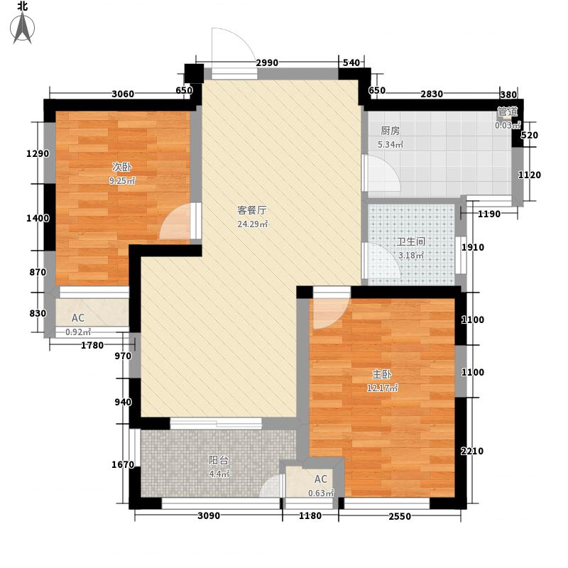 聚湖雅苑87.50㎡16#B户型2室2厅1卫1厨