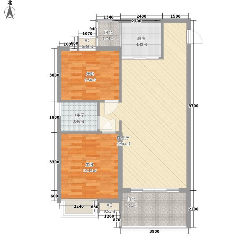 嘉华府邸8.56㎡3#2单元43单元3户型2室2厅1卫1厨