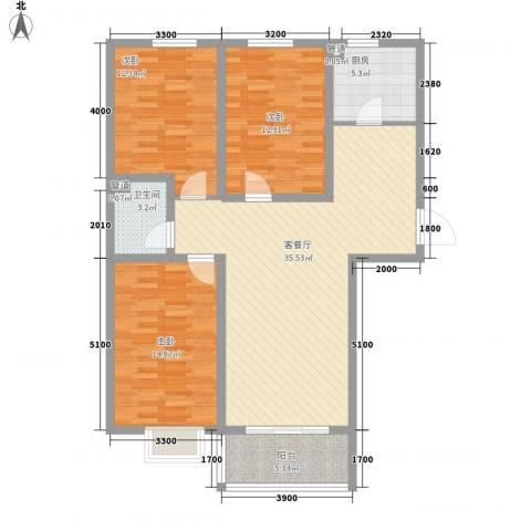 城市印象3室1厅1卫1厨117.00㎡户型图