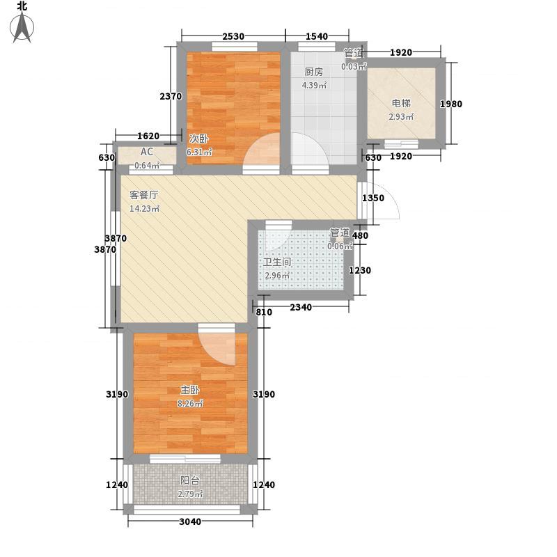 福临万家64.54㎡标准层G1户型2室1厅1卫
