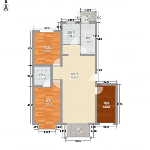 山水汇豪3室1厅2卫1厨110.00㎡户型图