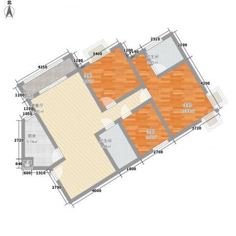 城南锦绣3室1厅2卫1厨112.00㎡户型图