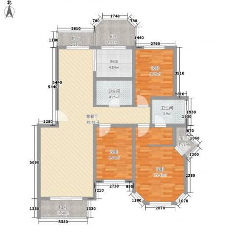 山水汇豪3室1厅2卫1厨136.00㎡户型图