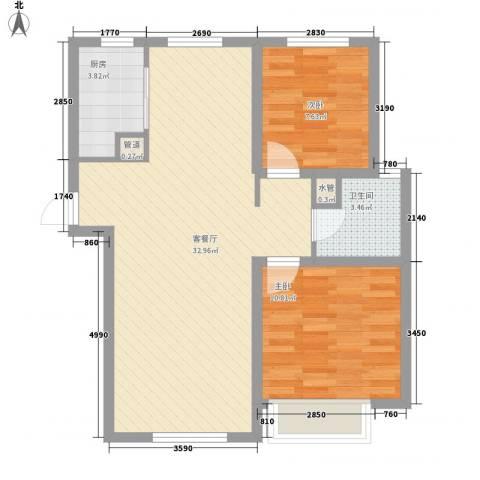 自由向2室1厅1卫1厨87.00㎡户型图