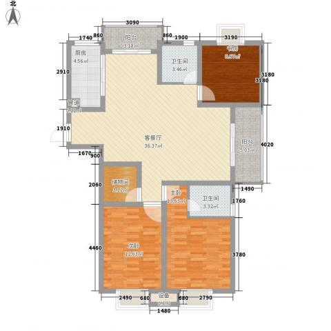 荣亨逸都3室1厅2卫1厨136.00㎡户型图