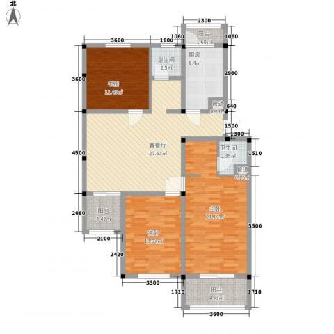 扬州水乡别墅3室1厅2卫1厨122.00㎡户型图