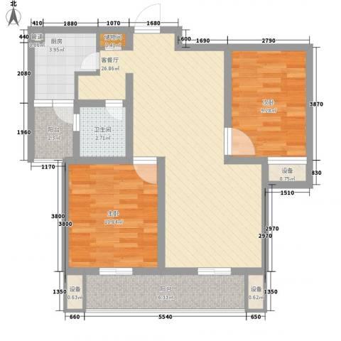 荣亨逸都2室1厅1卫1厨97.00㎡户型图
