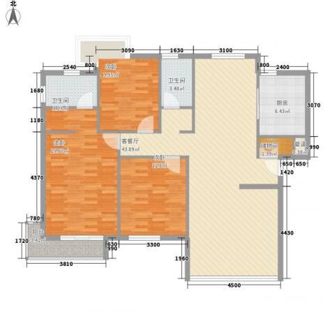 幸福E家二期3室1厅2卫1厨123.00㎡户型图