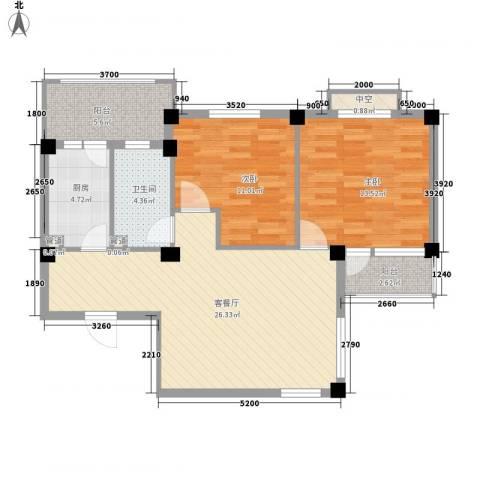 渔城新居2室1厅1卫1厨98.00㎡户型图