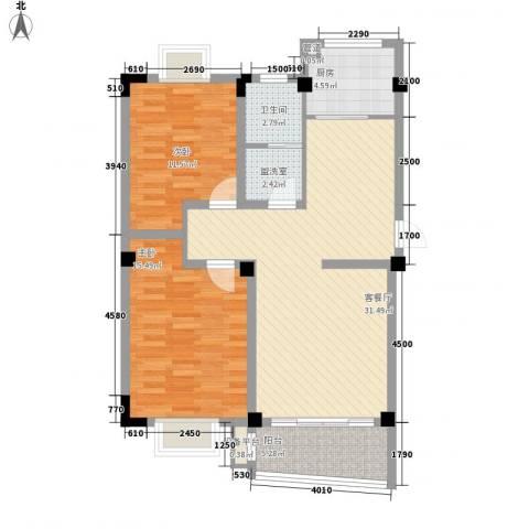 扬子佳竹苑2室1厅1卫1厨107.00㎡户型图