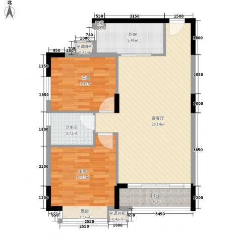 名品建筑2室1厅1卫1厨90.00㎡户型图
