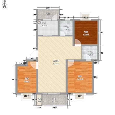 荣亨逸都3室1厅2卫1厨117.00㎡户型图