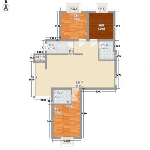 龙溪城3室1厅2卫1厨115.00㎡户型图