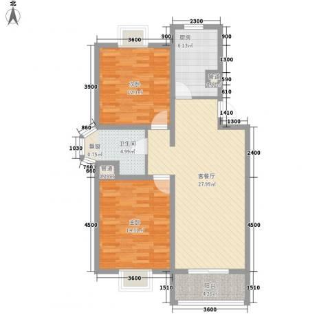 美兰湖颐景园别墅2室1厅1卫1厨90.00㎡户型图