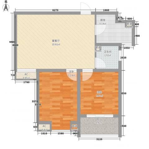 达世地产壹江城2室1厅1卫1厨89.00㎡户型图