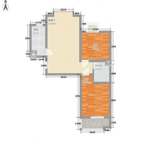 龙溪城2室1厅1卫1厨86.00㎡户型图