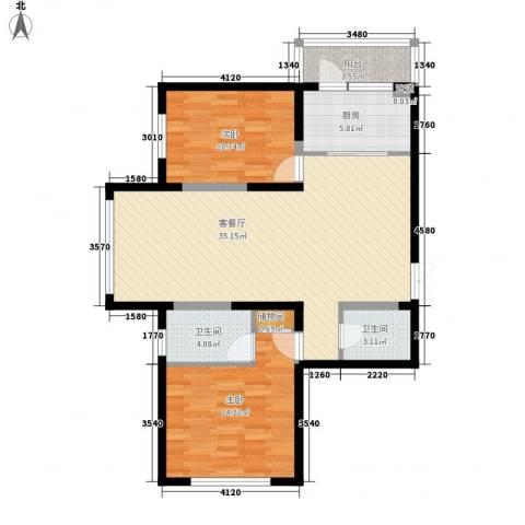 柏悦星城2室1厅2卫1厨99.00㎡户型图