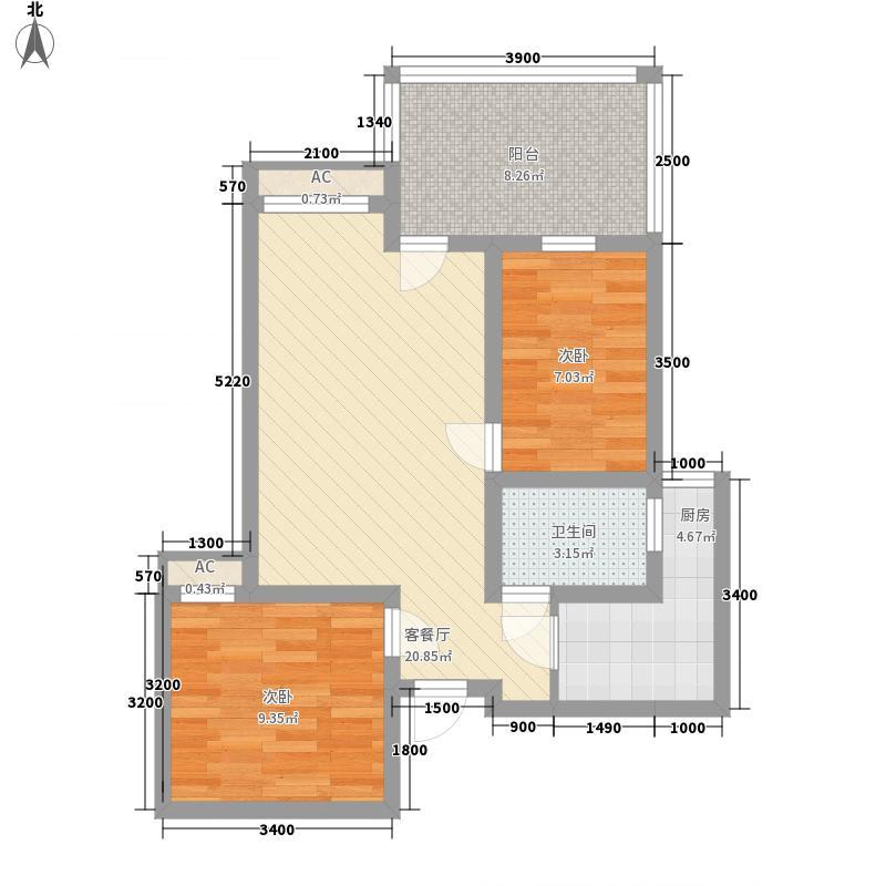 上霖东方66.82㎡1幢3户型2室2厅1卫1厨