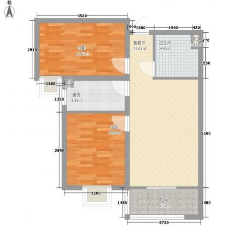 龙溪城2室1厅1卫1厨84.00㎡户型图