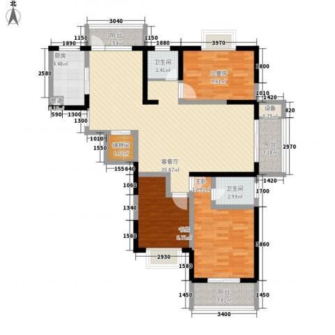 荣亨逸都3室1厅2卫1厨132.00㎡户型图