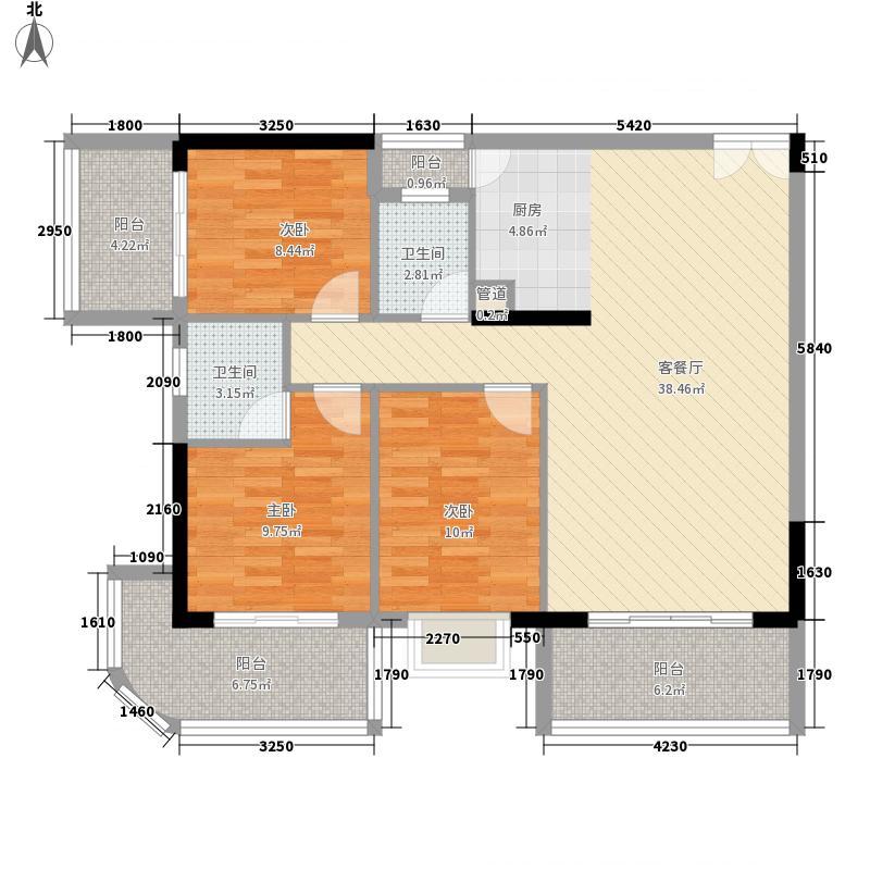 人民大厦115.38㎡1栋A1户型3室1厅1卫1厨