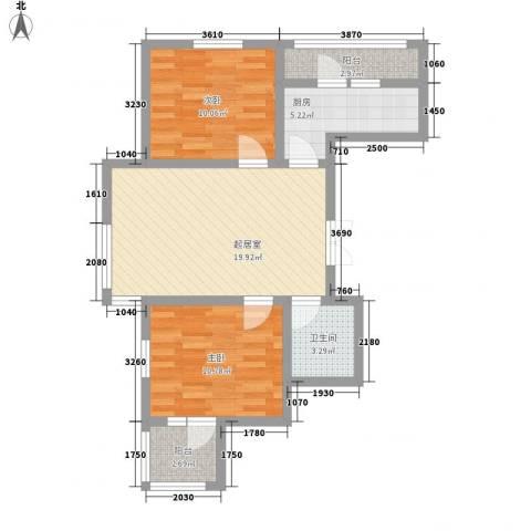 中天富城2室0厅1卫1厨81.00㎡户型图