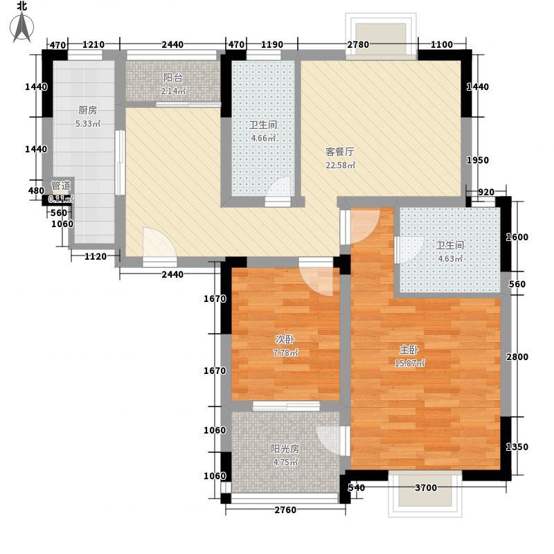 西郡188花园户型图E1 2室2厅2卫1厨
